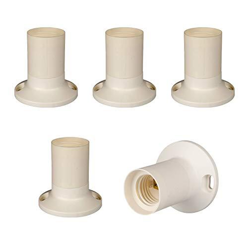 Portalampada E27 in plastica (PBT), rivestimento liscio per montaggio a parete (dritto), Bianco