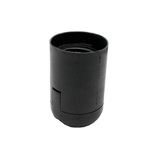 Portalampada E27 nero termoplastica con rivestimento liscio e tappo a innesto, filettatura fine M10 x 1, in plastica.