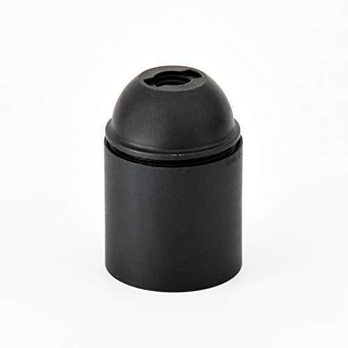 Portalampada in Plastica - Attacco E27 - Camicia Liscia. Confezione 6 Pezzi; Colore Nero