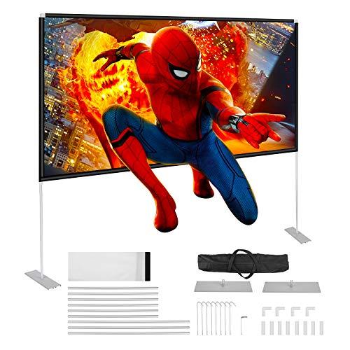 """Powerextra, schermo di proiezione HD 16: 9"""", 100 pollici, con supporto, custodia compatta, pieghevole, per home theatre, campeggio e eventi ricreativi"""