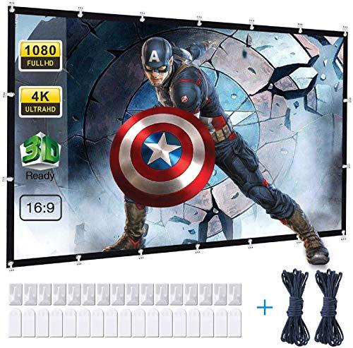 Powerextra Telo Da Proiezione Da 120 Pollici Utilizzabile Su Ambo I Lati HD 16:9 Telo Avvolgibile Senza Pieghe Ottimo Per Casa Ufficio Eventi All`Aperto Teatro