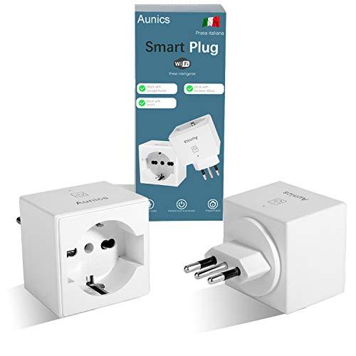 Presa Alexa Aunics Presa Smart, Italiana 2 Pezzi Compatibile con Alexa Amazon, Google Home, IFTTT, Presa Intelligente, Controllo Energia, Spina Wi-Fi App Smart Life, Smart plug per Casa No Adattatore
