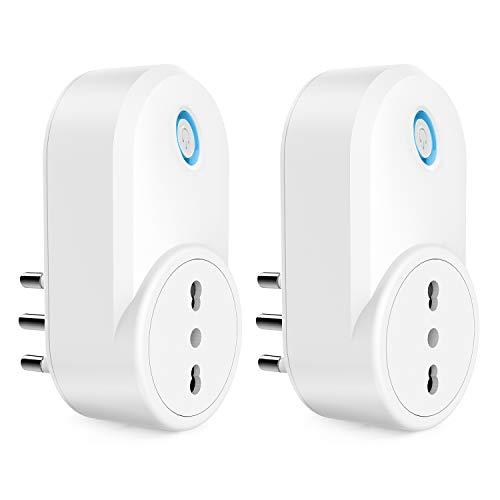 Presa Smart Alexa, Maxcio Presa Intelligente WiFi Italiana 16A, Energia Monitor, Compatibile con Alexa Echo e Google Home, Controllo Vocale, App Telecomando, Funzione di Condividere (2 Pezzi)