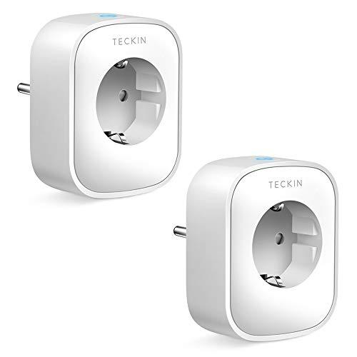 Presa Smart WiFi 16A 3680W Presa Intelligente TECKIN Spina Energy Monitor, Compatibile con Alexa Echo e Google Home, Controllo da Remoto, Funzione Timer, Presa Wireless per IOS Android APP(2 pack)