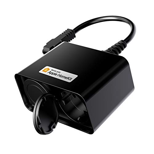 Presa WiFi Esterna Multipresa Intelligente Outdoor Smart Spina Plug 2 Prese uscita, Funzione Timer, Controllo Remoto, Compatibile con HomeKit, SmartThings, Alexa, Google Home