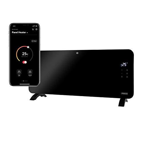 Princess Termoconvettore Vetro Smart 341500 - Controllo con App - 1500 W – Nero