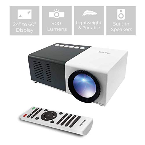 PRIXTON - Mini Proiettore portatile / MIni Proiettore LED Full HD portatile, 900 lumen, Connessione HDMI, USB, MicroSD, Aux in, AV in, Altoparlanti integrati e Telecomando inclusi | Cinema Mini