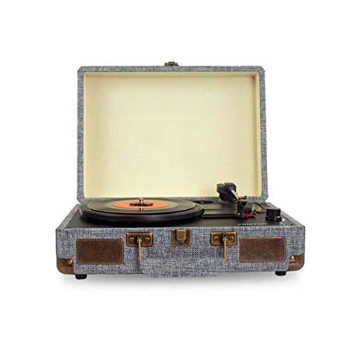 PRIXTON VC400 - Giradischi in vinile vintage, lettore di vinile e lettore musicale tramite Bluetooth e USB, 2 altoparlanti integrati, a forma di valigia, colore: grigio