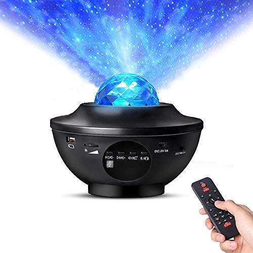 Proiettore a LED Star Light Proiettore con luce notturna a onda oceanica Lampada per proiezione stellata Lettore musicale 2 in 1 con Bluetooth e telecomando Timer per camera da letto Festa di Natale