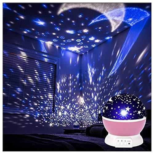 Proiettore a LED stella luna galassia luce notturna camera dei bambini cielo camera da letto girevole decorazione asilo baby lampada regalo luce notturna rotante lampada da comodino a batteria
