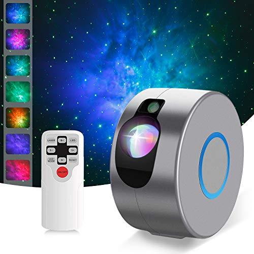 Proiettore a Luce Stellare, Luce Notturna Bambini con 7 Modalità, LED Luce Nebulosa con Timer e Telecomando, Tre Regolazioni di Luminosità e Velocità Proiettore Stelle per Adulto Bambini (grigio)