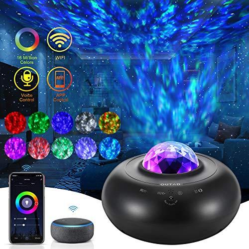 Proiettore a Luce Stellare, WiFi LED Proiettore con Telecomando APP, Luce Notturna Bambini con Altoparlante e Timer, Compatibile con Alexa / Google, Adatta per Bambini, Adulti, Regali(Nera)