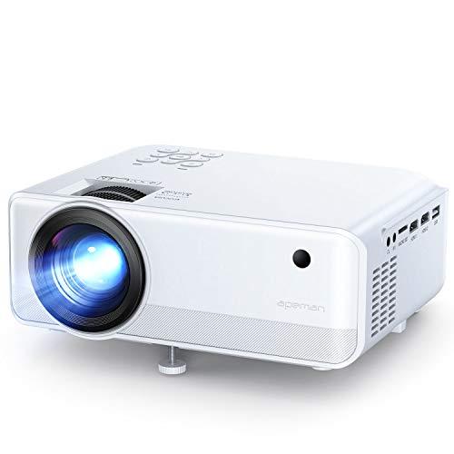 Proiettore APEMAN Portatile Videoproiettore, Supporto 1080P,6000 Lumen LED Doppi Altoparlanti Incorporati 50000 Ore Cinema Domestico Compatibile HDMI/VGA/SD/AV/USB Supporto Laptop, TV Box/Telefono/PS4