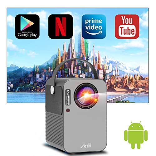 Proiettore, Artlii Play Videoproiettore Wifi Bluetooth Full HD, Android TV 9.0, Mini Proiettore Portatile, Correzione 4D ± 45 °, Home Cinema Netflix, YouTube, Prime Video