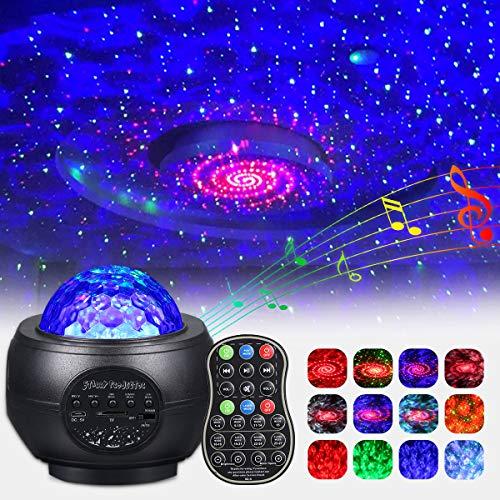 Proiettore LED cielo stellato, rotazione a 360°, dimmerabile, con telecomando, altoparlante Bluetooth, luce notturna, cielo stellato con USB, per camera da letto, decorazione natalizia e festa