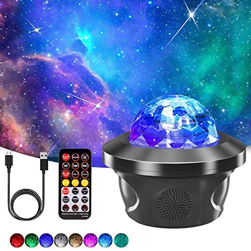 Proiettore Luce Stellato, LHBD Proiettore Stelle con 29 Modalità, Luce Notturna Led con Bluetooth Musicale/Timer/Telecomando, Proiettore Natale per Bambini/ Adulti/ Regalo