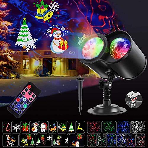 Proiettore Luci Natale LED Natalizia, SGODDE 14 Modelli a LED Light Luce per Proiettore con 10 Motivo a Onde d'Acqua con Telecomando,Timer 2/4/6 Ora Halloween Luci proiettore LED Impermeabile IP65 (A)