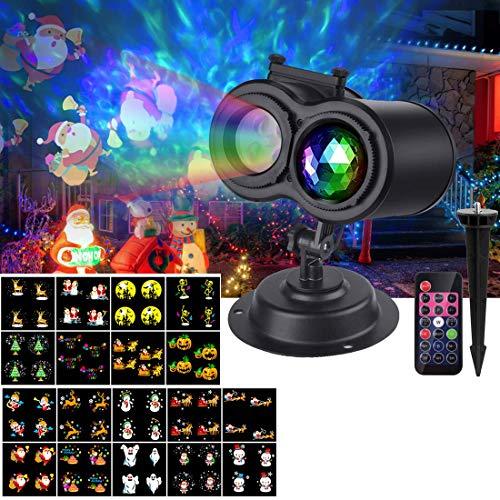 Proiettore Luci Natale LED,VIFLYKOO LED Illuminazione Natalizia Proiettore a Doppia Testa con 18 Diapositive Patterns,IP65 Impermeabile e Telecomando RF Decorazioni per Natale, Matrimonio, Festa