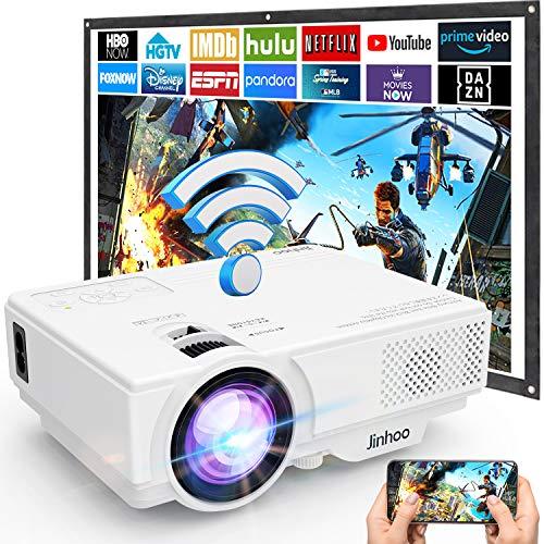 Proiettore, Mini Proiettore Wifi, Proiettore Portatile Wireless 5500 Lumen Supporta 1080P Full HD, Videoproiettore 720P Nativo Compatibile con Smartphone Tablet HDMI VGA USB TF AV, Proiettori.