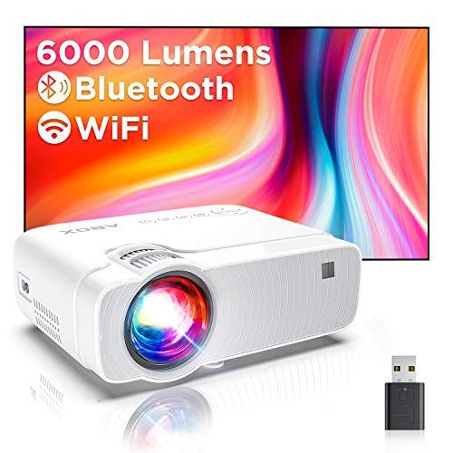 Proiettore Portatile, Mini Videoproiettore Wifi Luminosità 6000, Supporta 1080p Full HD 300'', ABOX Proiettore Wifi Compatibile Android,iPhone,Laptop,PS4,Mac, Ideale per Home Cinema