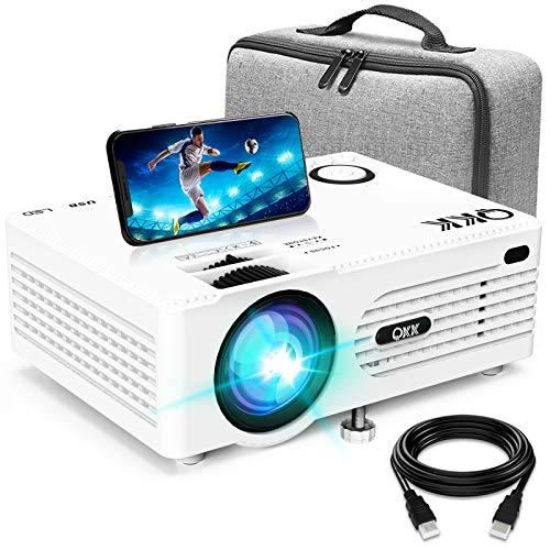 Proiettore QKK AK-80 Proiettore Supporta 1080P FHD, Mini Proiettore Videoproiettore compatibile con TV Stick PS4 Xbox Wii HDMI VGA SD USB AV, Proiettore Home Theater, Bianco
