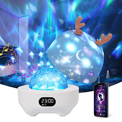 Proiettore Stelle Soffitto Bambini,Petrichor 360° Rotazione Proiettore Lampada con Cassa Bluetooth, 10 Modalità Romantica Luce Notturna,6 film di proiezione,Regalo per Neonati, Bambini, Adulti
