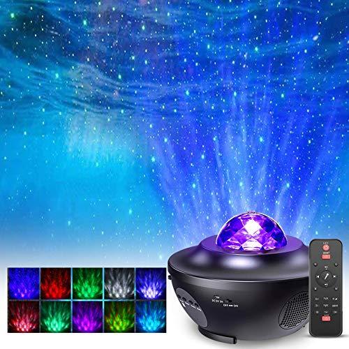 Proiettore Stelle Soffitto, FOCHEA 21 Modalità Proiettore LED Lampada Luci Notturne Stelle con Altoparlante Bluetooth, Timer e Telecomando per Bambini Comodino, Camera da Letto, Casa