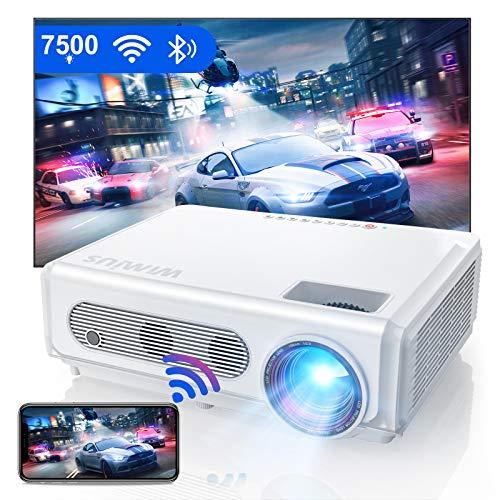 Proiettore WiFi Bluetooth 1080P, Proiettore WiMiUS 7500 Full HD Nativo 1920 × 1080P, Supporto Funzione 4K e Zoom, Videoproiettore LCD Wireless per Home Cinema per Smartphone / TV Stick / PS4 / PC