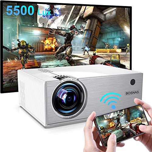 Proiettore WiFi, BOSNAS Nativo 720P Mini Videoproiettore Portatile 5500 Lux, Supporta Full HD 1080P, Zoom X/Y, LED Proiettore Home Theater per TV Stick HDMI PS4 Laptop Smartphone