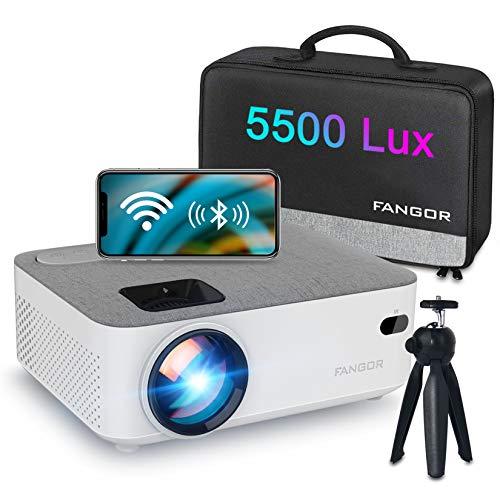 """Proiettore WiFi FANGOR Mini Proiettore portatile 5500 Lumen Videoproiettore Nativo 720P Proiettore Casa con Display da 200 """", Compatibile con TV Stick, PS4, HDMI, VGA, SD, AV, USB,iPhone,Andorid"""