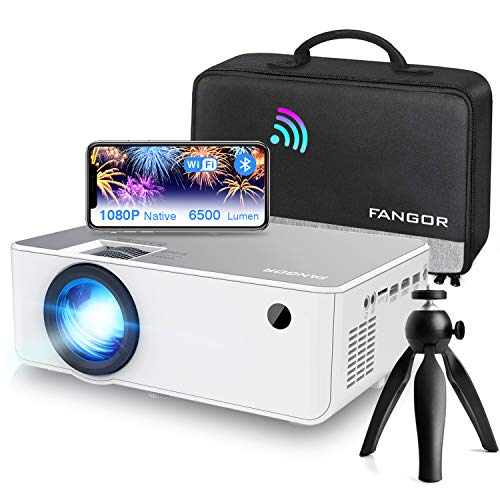 """Proiettore WiFi FANGOR Videoproiettore 1080P Nativo HD Proiettore wireless Home Theater con Bluetooth, 6500 Lumens, 230"""", Compatibile con TV Stick, HDMI, VGA, USB, Laptop, iPhone / Android"""