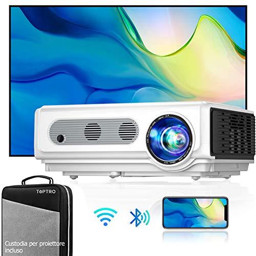 Proiettore WiFi TOPTRO con Custodia, Proiettore Bluetooth 1080P Nativo, Supporto 4K / zoom, Proiettore Home Theater Compatibile con Telefono / TV Stick / PC / USB / HDMI / SD/DVD/PS4