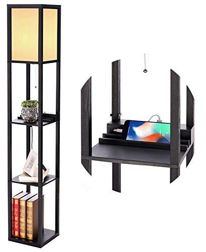PROMECITY Lampada da Terra con Ripiano e Porta di Ricarica USB, Ripiani Portaoggetti a Torre per Camera da Letto, Lampada da Terra e Comodino