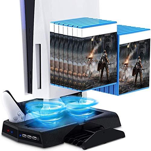 PS5 Ventola di Raffreddamento, RIXOW Supporto Verticale per Controller Stazione di PS5, Doppio Ventole e Doppio Stazioni Ricarica, con 14 Vassoi per Dischi da Gioco Retrattili