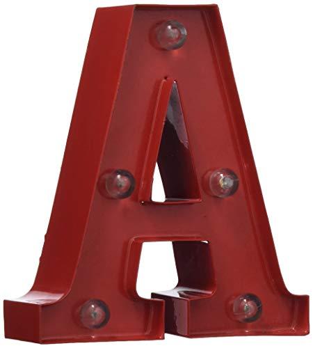 Pusher Mini Las Vegas Decorazioni Luminose per la Casa Letterina A, Metallo, Rosso, 6x4x10 cm