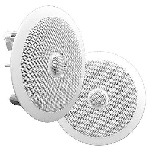 Pyle PDIC80 - Altoparlanti da soffitto a parete con sistema di altoparlanti a 2 vie, per casse acustiche, colore: Bianco