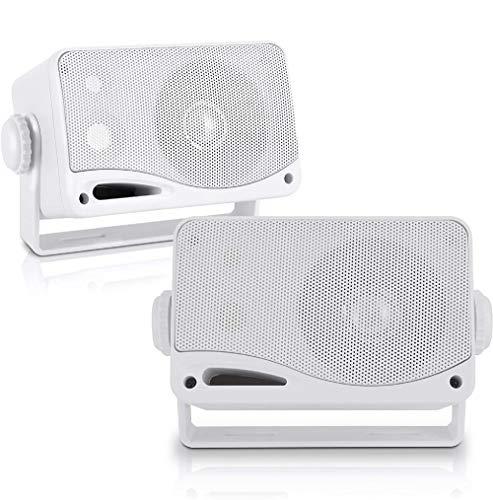 """Pyle PLMR24 PLMR24 - Altoparlante impermeabile, 3,5"""", 200 W, 3 vie, resistente alle intemperie, colore: Bianco"""