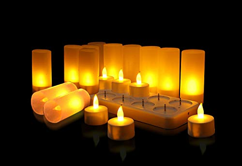 QSPORTPEAK Set di 12 LED Realistiche Senza Fiamma Candele, USB Ricaricabile Illuminazione d'Atmosfera Romantica Decorazione per Party Festa Bar Caffetteria Casa Regalo Natalizio per Amici (Giallo)