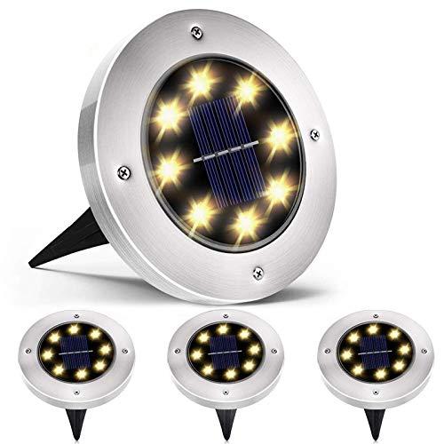 QSSTech LED Luce Solari Giardino Esterno, 4 Pezzi 8 led Lampada Solare da Giardino Faretti Terra Incasso 100LM Batteria Integrata IP65 Impermeabile Luci Gialla per Paesaggio Strade aiuola Vialetto