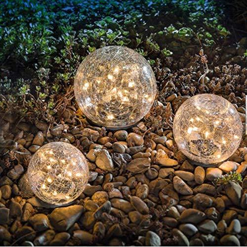 Queta - Lampada solare da giardino con sfera di vetro screpolata, impermeabile, luce bianca calda, per sentieri, vialetti, cortili, prato, 1 mappamondo (10 cm)