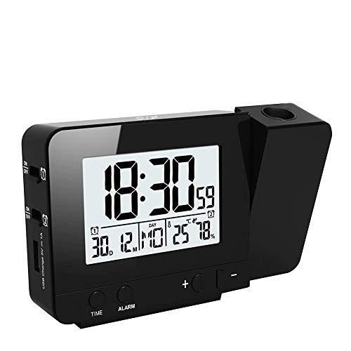Queta Sveglia Digitale con Proiettore, Schermo a LED, Sveglia Mattutina con Schermo della Temperatura Oraria, Calendario, Suoni di Allarme, Timer porta USB