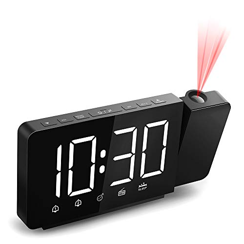 Quntis Sveglia con Proiettore,Sveglia Digitale da Comodino Orologio Digitale,Radiosveglia Orologio Proiettore,7.4'' Display LED con Dimmer,FM Radio,2 Allarme,Funzione Snooze,Grandi Numeri,12/24H- Nero