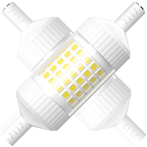 R7s - Lampadina a LED R7S, 78 mm, dimmerabile, R7s, luce bianca fredda, 6000 K, angolo di diffusione 360°, ricambio 8 W, lampadine alogene da 100 W, tipo J a doppia base, 2 pezzi, dimmerabili