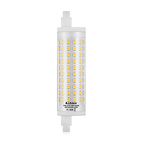 R7S LED 118mm Dimmerabile 15W Lampadina a Doppio Effetto Lineare J118, Bianco Caldo 3000K, 15Watt, Equivalente a 80W 100W 125W r7s Lampada Alogena,230V AC, 1700LM-2000LM, 360 Gradi,Confezione da 1