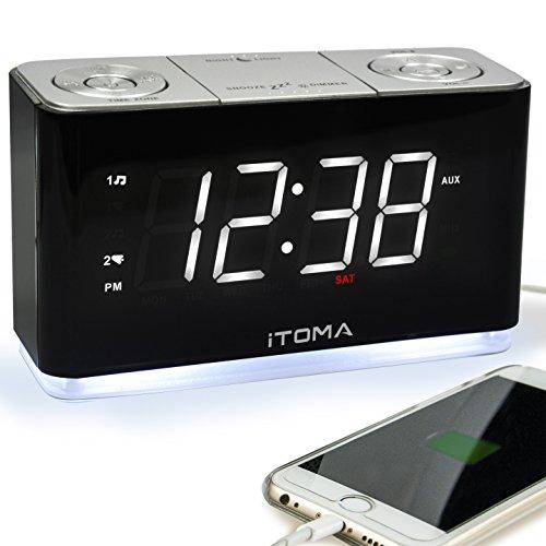 Radio Sveglia Digitale FM Radio Orologio Bedside sveglia con luce notturna, doppio allarme auto controllo della luminosità Dimmer grande display, USB di ricarica (CKS507)
