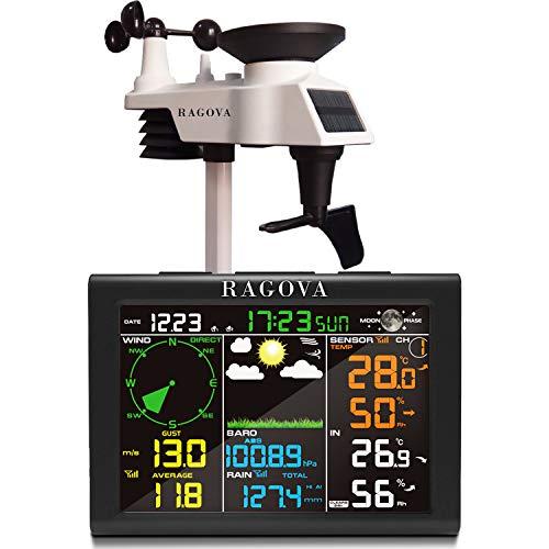 Ragova - Stazione meteo radio con sensore esterno, stazione meteo 8 in 1 con previsioni meteo, temperatura, pressione dell'aria, umidità, anemometro, pluviometro, fasi lunari, sveglia