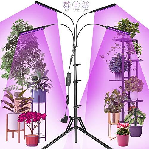 Railee Lampada per Piante, Lampada Piante 192 LED Lampade Led Coltivazione con Timer Automatico 3H/6H/12H e Treppiede 150 cm, Grow Light Full Spectrum per Semina, Crescita, Fioritura e Fruttificazione