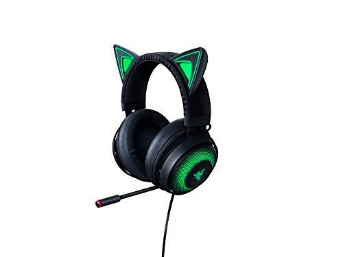 Razer Kraken Kitty Cuffie con Orecchie da Gatto e Illuminazione RGB Chroma, Microfono con Cancellazione Attiva del Rumore, THX Spatial Audio, Comandi sui Padiglioni Auricolari, Nero (RGB Chroma)