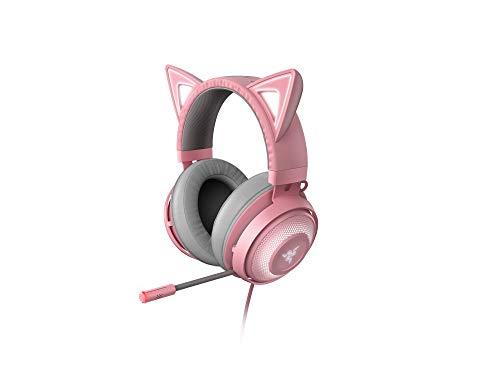 Razer Kraken Kitty Cuffie con Orecchie da Gatto e Illuminazione RGB Chroma Personalizzabile, Microfono con Cancellazione Attiva del Rumore, THX Spatial Audio, Comandi sui Padiglioni Auricolari, Rosa