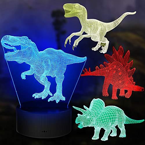 Regali di Dinosauro, 4 Pezzi di Luce Notturna con Lampada a Dinosauro 3D con 16 Cambi di Colore e Telecomando, Regali per Bambini da 3 4 5 6+ anni (4 pcs)